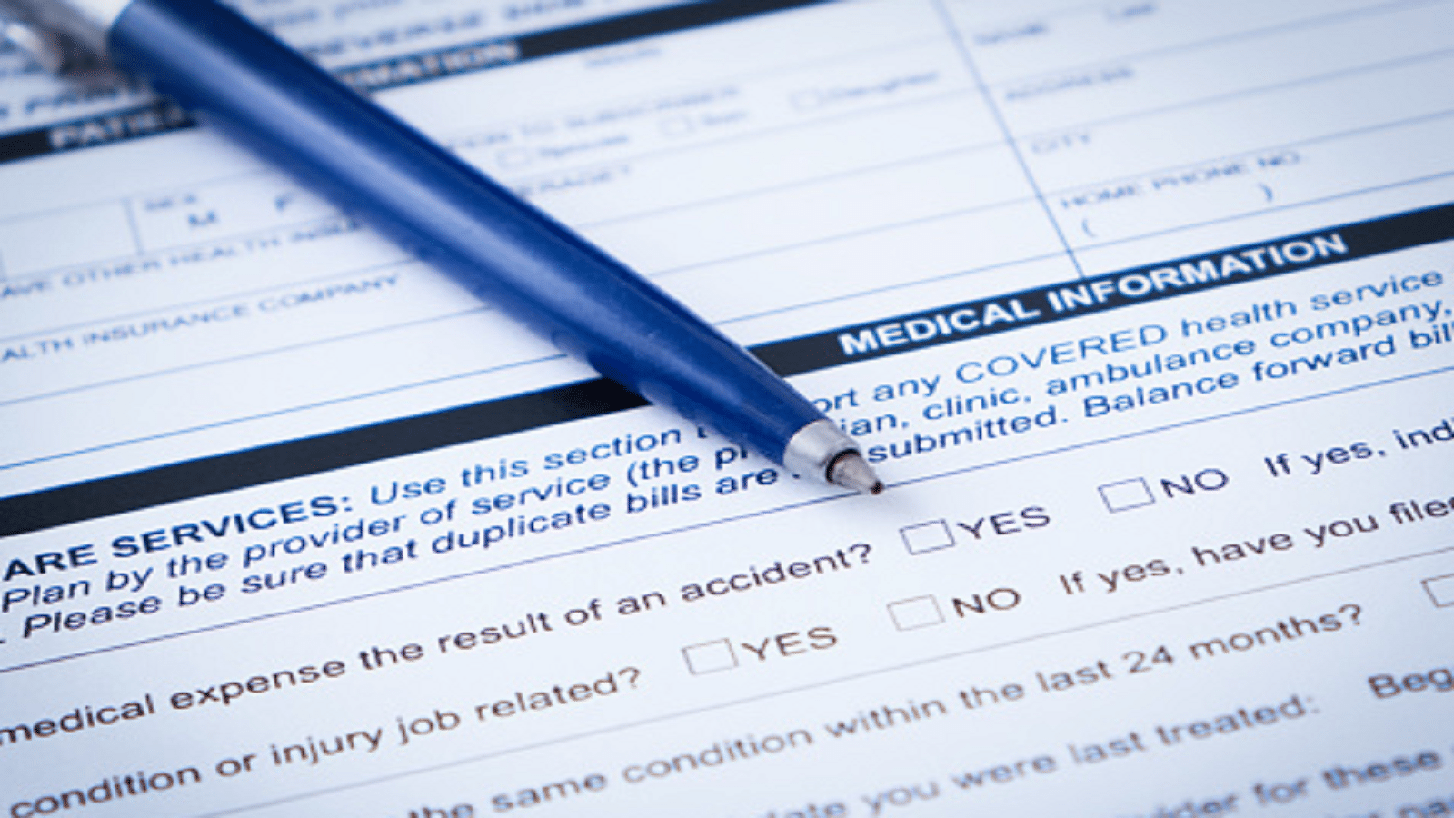Blank Medical Form Stock Photo
