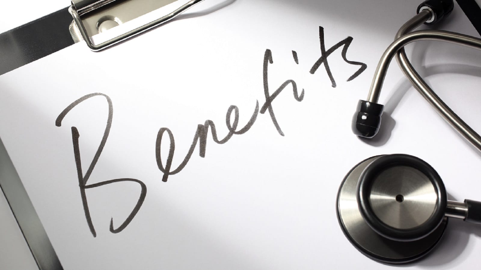Benefits Written On Computer Paper Stock Photo